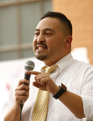 Sen. Martin Quezada (LD 29) speaks during the Arizona Coalition to End the Filibuster rally at Civic Space Park in downtown Phoenix on May 20, 2021.