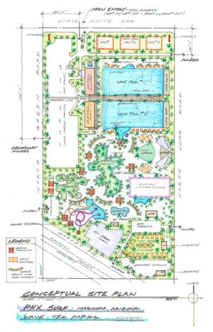 """Among PHX Surf's proposed attractions at its """"first-class surf facility"""" in Maricopa are wave pools, water slides and a hotel, which can be seen in this conceptual site plan."""