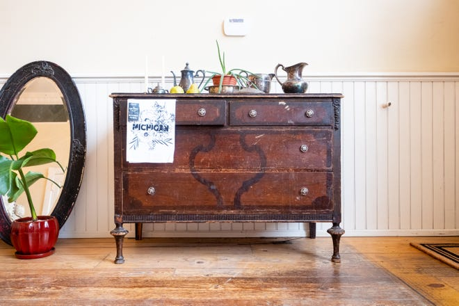 A refurbished dresser is on display at Co. Home Furnishings in downtown Lexington. The high-end refurbished furniture and home goods store is expected to open Memorial Day weekend.