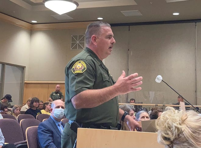 Shasta County Sheriff Eric Magrini speaks to the Board of Supervisors on Thursday, May 20, 2021, during a meeting about hemp cultivation.