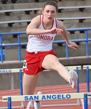Skylar Harris competes in the 300-meter hurdles at the San Angelo Relays in 2021.