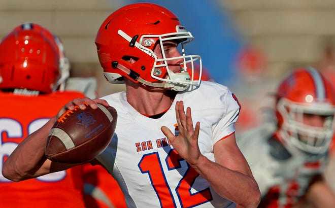Tyler Hill prepares to deliver a pass during the annual Central Bobcats spring football game Thursday, May 20, 2021.