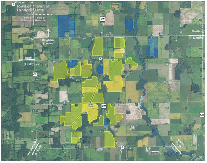 A Ranger Power map of the Onion River solar project in the town of Holland shows where the solar farm will be built. The yellow shows the primary areas for the project and the blue shows alternate areas. Both will be fenced in.
