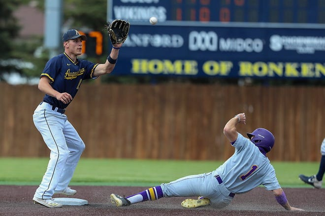 MSU-Mankato's Joey Werner beats the tag of Augustana shortstop Sam Baier for a stolen base Friday in the NSIC tournament championship game at Ronken Field.