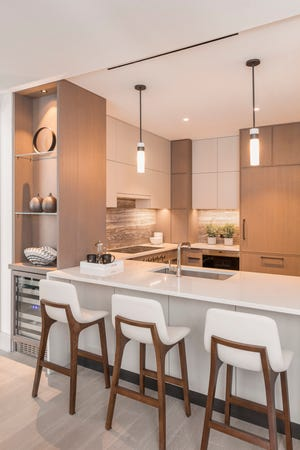 The kitchen in a model home at the St. Regis Residences in Rye, designed by Elissa Grayer Interiors.