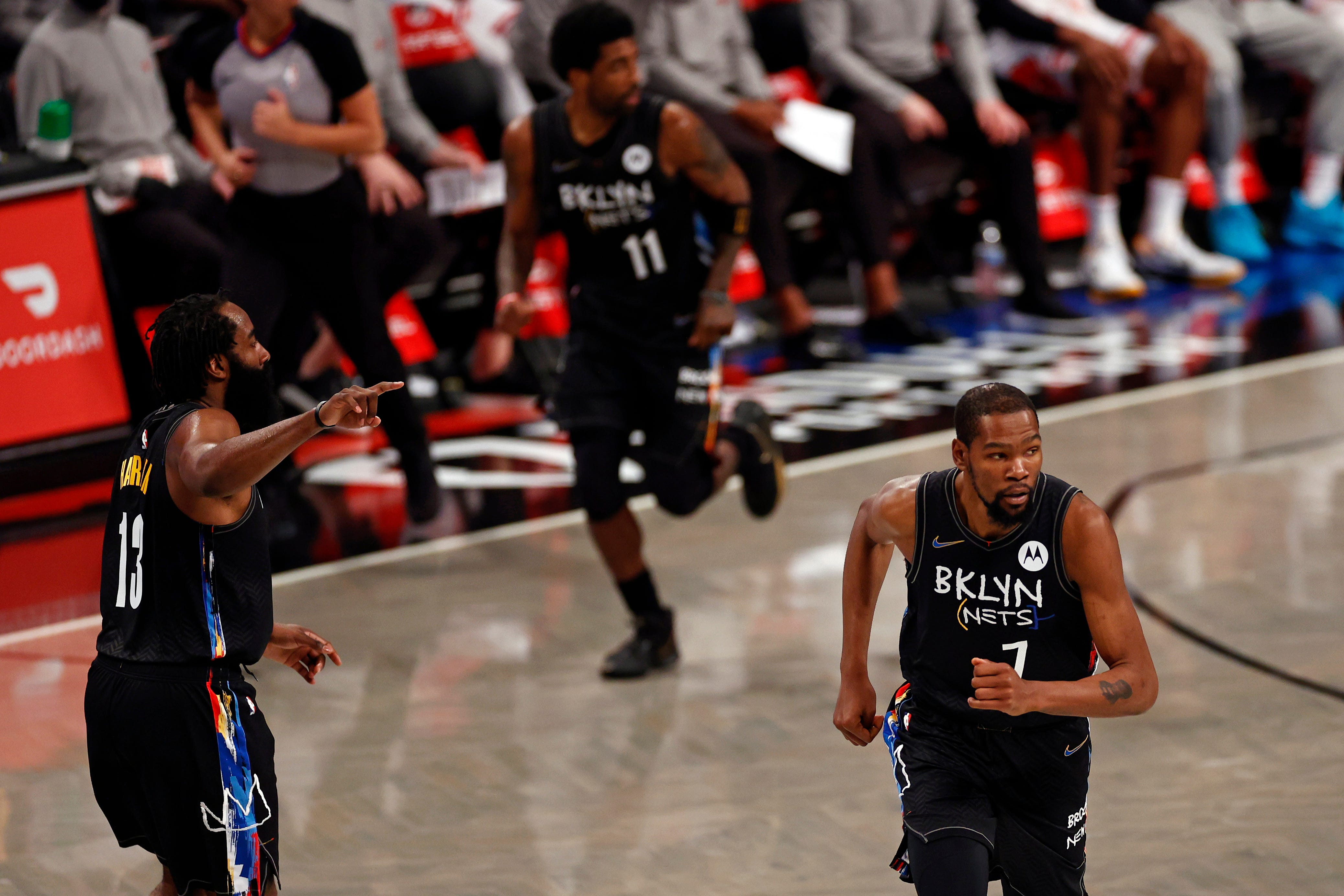 The Nets' All-Star trio of James Harden, Kyrie Irving and Kevin Durant played together last week for the first time since February.