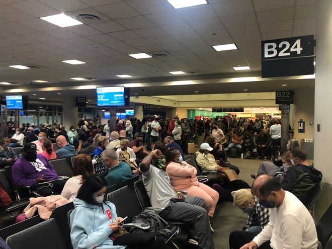 A crowded gate area at Chicago's Midway International Airport in mid-May.