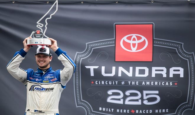 Crosley Brands Ford driver Todd Gilliland celebrates winning the Camping World Trucks Toyota Tundra 225 at Circuit of the Americas on Saturday. With the victory, he punched a ticket to the 10-driver playoffs and climbed to fourth in the point standings.