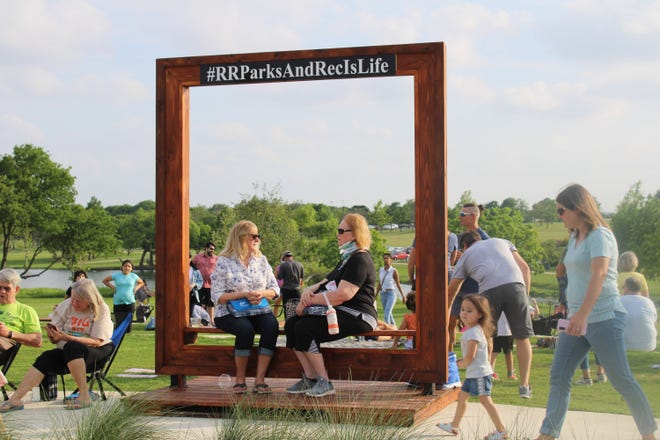 Round Rock residents gather Friday at the grand opening of the scenic Yonders Point at Old Settlers Park.