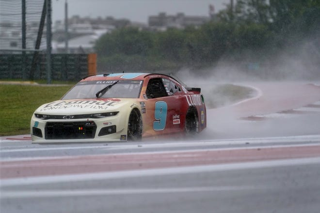 Chase Elliott drives out of Turn 18 at Circuit of the Americas on Saturday during practice for Sunday's NASCAR Cup Series race. Elliott is the betting favorite to win, but he's not happy about contending with the rain.