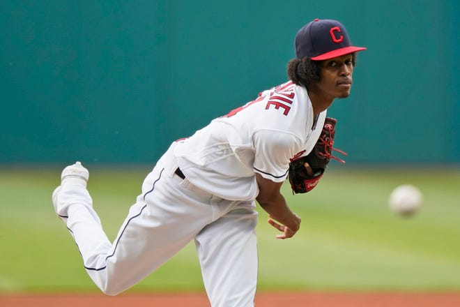Cleveland starting pitcher Triston McKenzie again struggled with his control in a 10-0 loss to the Minnesota Twins on Friday night. [Tony Dejak/Associated Press]
