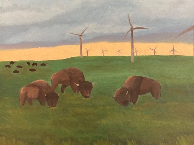 """Keely Low, a senior at Randall High School, placed third in this year's Congressional Art Competition for her piece, titled """"The New West."""""""