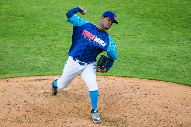 Amarillo Sod Poodles pitcher Luis Frias (40) pitches against the Midland RockHounds on Friday, May 21, 2021, at HODGETOWN in Amarillo, Texas.