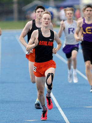 Ashland High School's Josh Hawley competes in the 800-meter run at the OHSAA Findlay Division I district track meet Saturday, May 22, 2021 at Findlay High School.