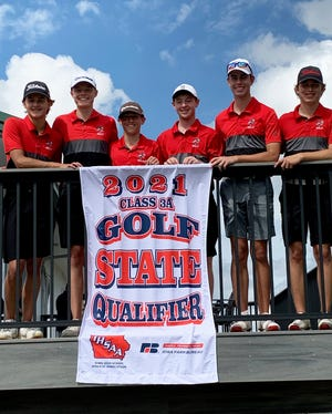 The Gilbert boys' golf team poses with its Class 3A boys' state golf banner at the Waverly Municipal Golf Course in Waverly. The Cubs won the 3A district meet there by 33 strokes.