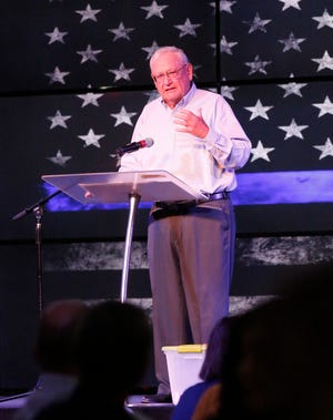 Tim Braaten speaks Friday at the Law Enforcement Appreciation Luncheon at Victory Life Church.