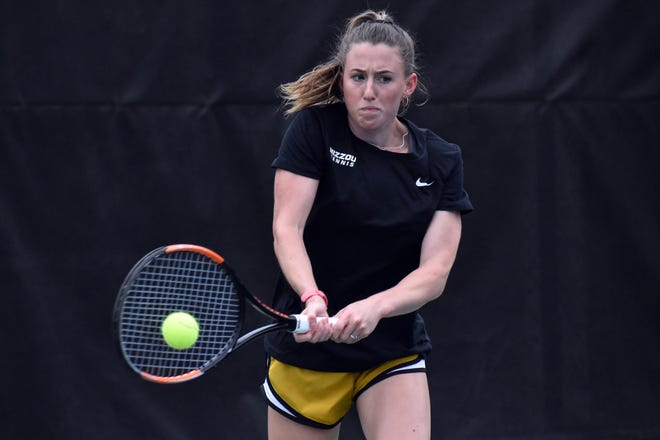 Missouri tennis' Bronte Murgett hits a forehand during a Wednesday practice at the Mizzou Tennis Complex.