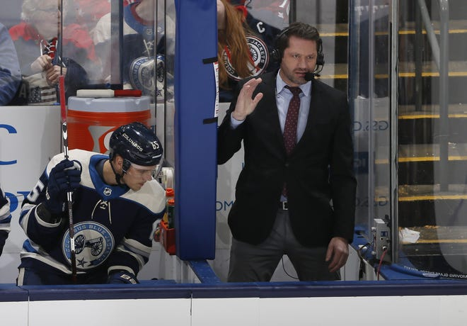 Jody Shelley, shown during a broadcast of a Blue Jackets game in 2019, will be part of NBC's national telecast of the playoffs on Monday.