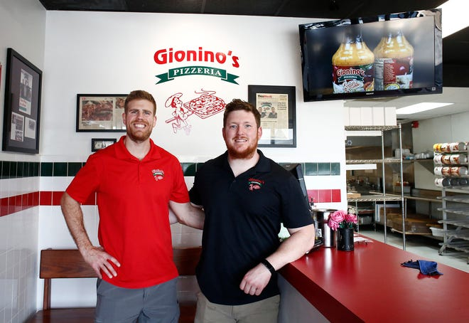 Gionino's Pizzeria is a staple in northeast Ohio, with 50 franchises across Ohio. Franchisees Dan Shackelford, left, and Larry Halpin, right, have opened a franchise in Pickerington (pictured here) and are expanding to Westerville.