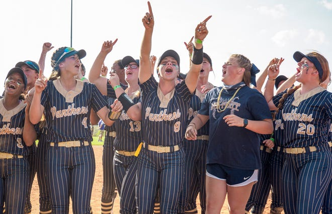 The Eustis Panthers celebrate after winning the Class 4A state championship with a 5-0 win Friday against Brooksville Hernando at Legends Way Ball Fields in Clermont. [PAUL RYAN / CORRESPONDENT]
