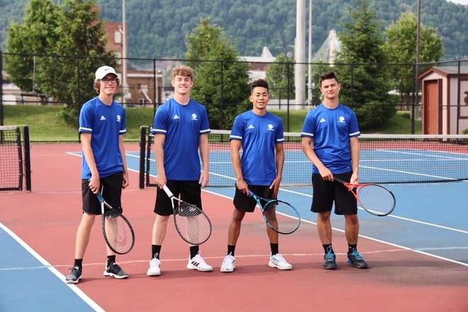 Cambridge High doubles players, left to right, Blade Bachman, Brady Hannon,  Caleb Stanberry, and  Justin Cole are shown following Saturday's district tournament in Portsmouth.
