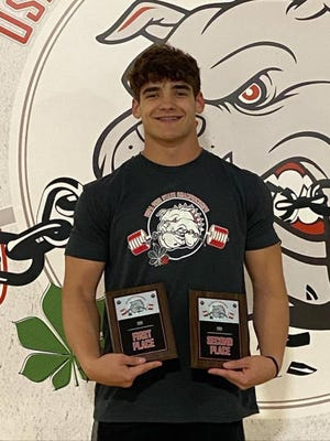 Buckeye Trail junior Shane Smith displays his awards after becoming the Ohio State Champion in the Junior Division (16-17 yr old), 82.5g weight class at the USPA Ohio State Championship in Marietta in April. Smith will now compete at the USPA National Championships in July in Palm Springs, California.