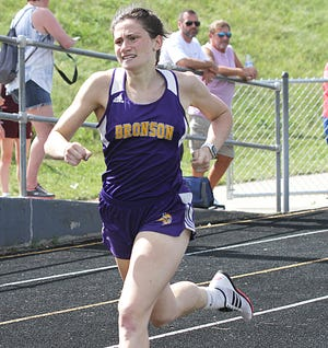 Bronson's Jenna Salek was a two time Regional Champion Friday night, winning the 200 meter and the 400 meter dash at Regionals