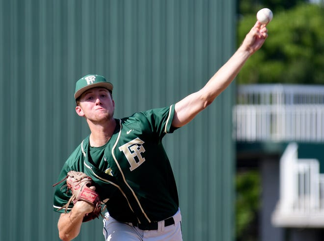 Fleming Island Golden Eagles pitcher Cody Carwile throws a pitch during their game with the Viera Hawks in a high school Class 6A state baseball semifinal in Fort Myers on May 21.