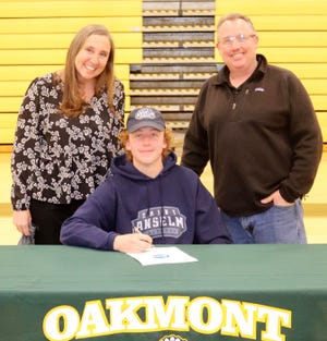 Oakmont senior Patrick O'Hara, pictured at a recent signing ceremony with his parents Kristine and Patrick O'Hara, will continue his education and his athletic career with the St. Anselm College Hawks this fall.