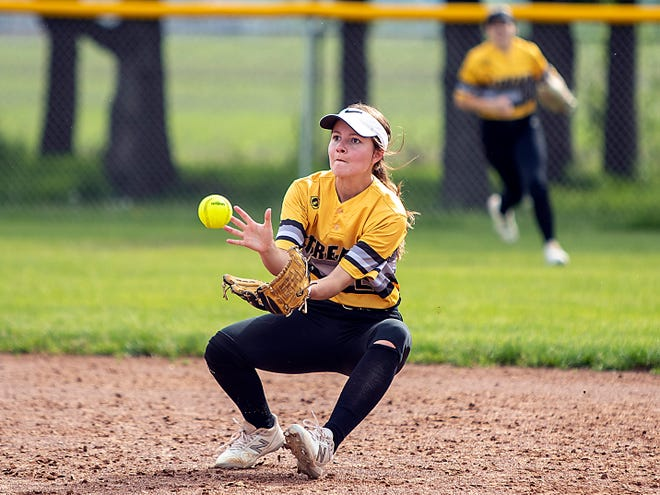 Galesburg senior second baseman Anna Skinner catches a soft line drive for an out during the Silver Streaks' 8-2 win over Knoxville on Friday, May 21, 2021 at Galesburg High School.