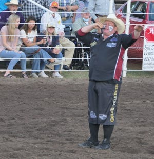 Award-winning rodeo clown Justin Rumford entertains the crowd during Abbyville Frontier Days PRCA Rodeo on May 21, 2021.