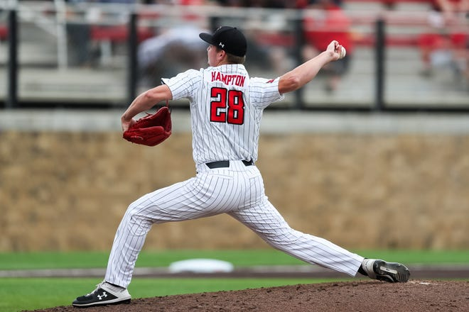 Texas Tech's Chase Hampton throws a pitch during a Big 12 Conference game Saturday, May 22, 2021, against Kansas at Dan Law Field at Rip Griffin Park.