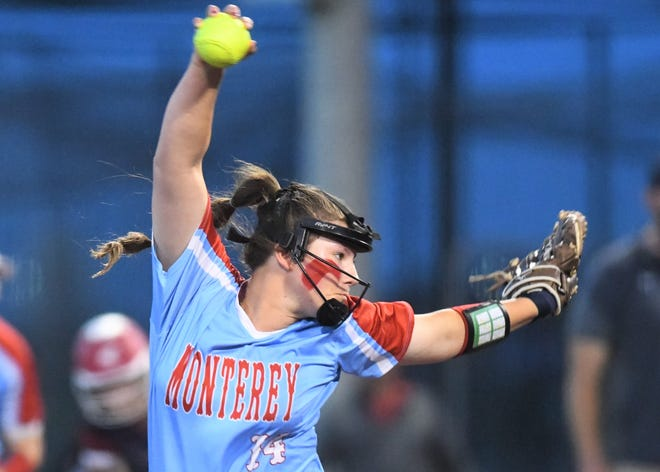 Monterey's Brenna Straughan pitches against Justin Northwest in Game 2 of their Region I-5A semifinal series Friday at Abilene Christian's Poly Wells Field in Abilene.