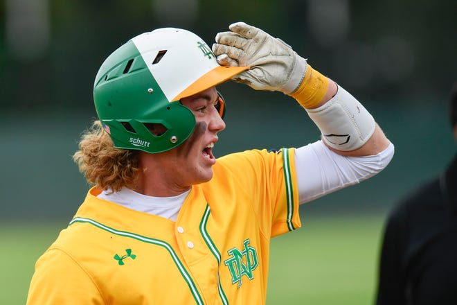 New Deal's Harley Patterson reacts to an RBI base hit during Game 2 of a Region I-2A quarterfinal series against New Home on Saturday at Hays Field in Lubbock.