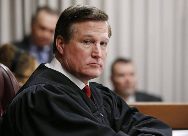 In this 2016 file photo, Oklahoma County District Judge Tim Henderson listens to testimony during the sentencing of former Oklahoma City police officer Daniel Holtzclaw.