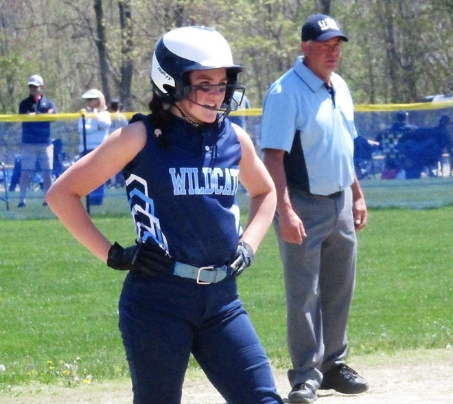 York sophomore Maggie Hanlon homered, tripled and drove in four in Friday's 15-3 win against Traip Academy.