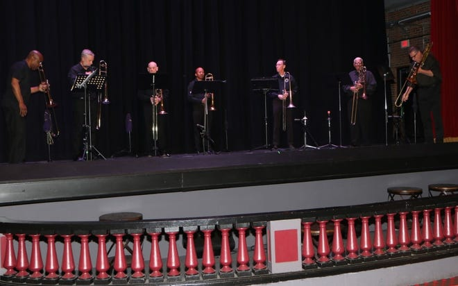 Bonefire Trombone Choir performs at the Beacon Theatre in Hopewell, Va. on May 16, 2021.