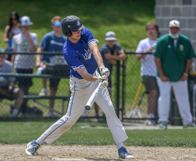 Cumberland's Lucas Lariviere doubles to right field to drive in what would be the game-winning run in the Clippers' 2-1 victory over previously undefeated Smithfield on Saturday.
