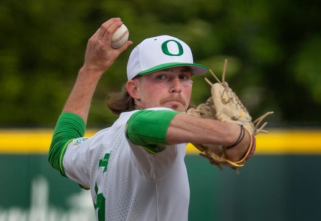 Oregon's Robert Ahlstrom had 10 strikeouts and allowed three hits in 7 1/3 innings in Friday's 2-1 win over Stanford at PK Park.