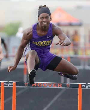 D.J. Harris of Jackson won the boys 300 meter hurdles during the Division I District Track and Field Meet at Hoover on Friday, May 21, 2021.