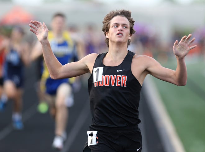 Hoover's John Hollon reacts after winning the boys 800-meter run at Friday's Division I district track and field meet.