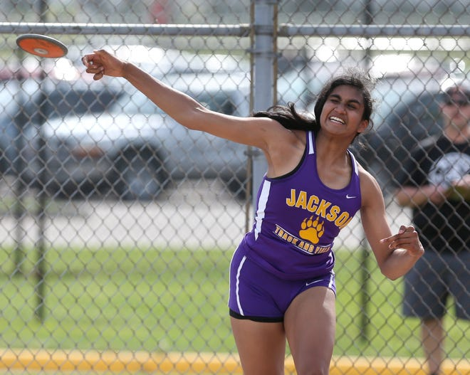 Leena Patibandla of Jackson won the girls discus during the Division I District Track and Field Meet at Hoover on Friday, May 21, 2021.
