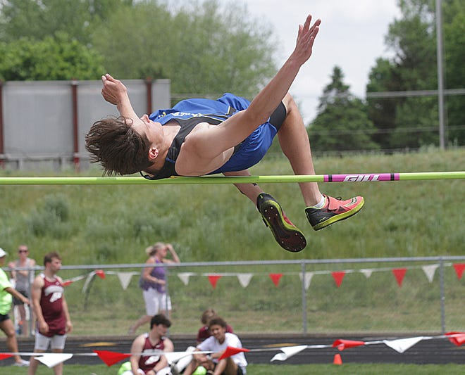 Tyler Swanwick of Centreville placed second overall in the high jump event.