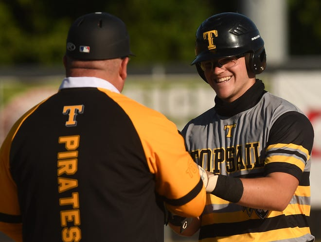 Topsail's #19 Sam Stowe reacts after hitting a double as New Hanover took on Topsail Friday May 21, 2021 at Buck Hardee Field in Wilmington, N.C. [KEN BLEVINS/STARNEWS]