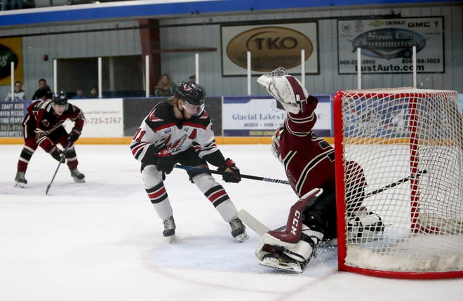 The Aberdeen Wings posted 71 shots against Minot Minotauros goaltender Keenan Rancier in Game 3 of the Central Division Semi-Finals in Minot on Thursday.