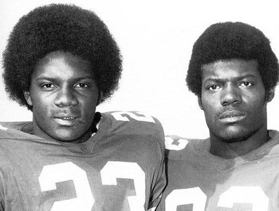 Leonard George, left, and Willie Jackson Sr. became the first African-American players to sign with the Gators in 1968.