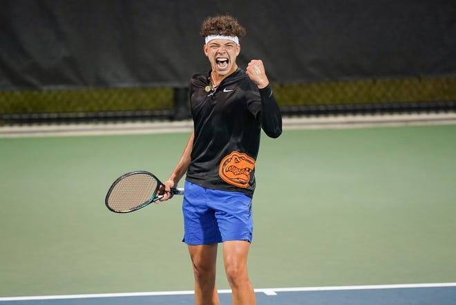 Florida's Ben Shelton reacts Friday during his singles match against Texas at the NCAA D1 Tennis Championships at the USTA National Campus in Orlando.