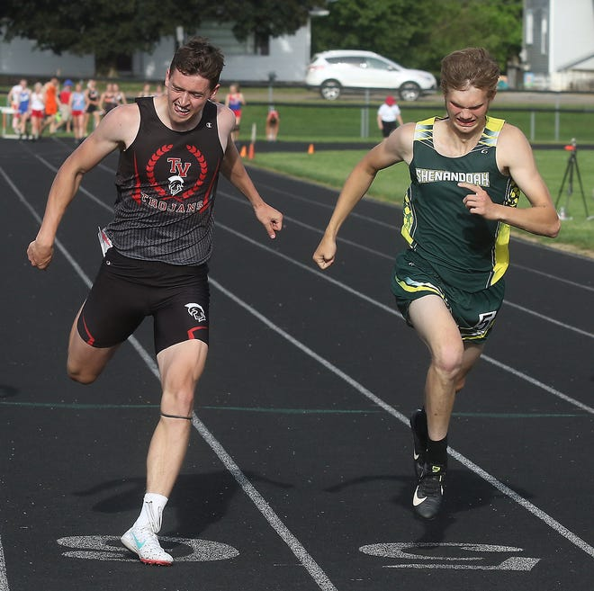 Tyler Stump of Tusky Valley nosed out Max McVicker of Shenandoah in the 200 at the Division III district track and field meet last Friday at Newcomerstown.