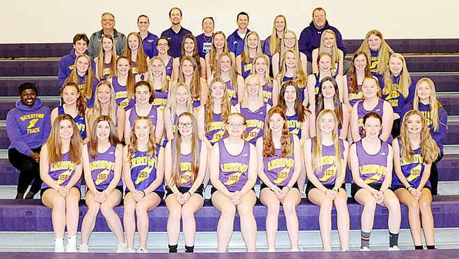 Watertown won the eighth-grade girls division Friday in the Big Four Track and Field Meet at Allen Mitchell Field. Team members include, from left in front, Alexis Olson, Ericka Woolley, Marli Wadsworth, Shelby Spilde, Olivia VanderMartin, Lila Rudebusch, Sara Peterson, Olivia Whiting and Brooklyn Simonton; second row, student manager Haja Baindu-Sheriff, Elizabeth Rieffenberger, Braelyn Gast, Rachel Skott, Kayla Randall, Lilianna Jaton, Willow Overvaag, Kendra Meidinger, Sophia Krantz, Katie Leadabrand and student manager Melody Lindner; third row, student manager Briella Rehorst, Grace Corey, Emma Hendricks, Cayda Weiss, Kamryn Feininger, Molly Hendricks, Fath Berg, Kynslee Johnson, Brielle Jenc and student manager Hannah Pesek; fourth row, student manager Micah Lampka, Halle Olson, Janel Lloyd, Gabby Dowling, Briella VanDusseldorp, Emery Thury, Isabella Horning, Kaylee Carlson, Madisyn Grimsrud and student manager Jersey Peery; and back row,  coaches Garrett Priest, Kim Rohde, Wade Taylor, Jessica Markanich, head coach Tom Mattingly, Carly Peterson and Scott Bruning.