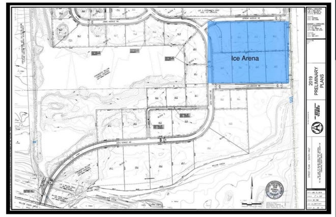 The city and developers are hopeful the ice arena will be built highlighted in blue within the new Lakes of Willow Creek development. If the site is not appropriate to build for any reason, the project may move to another location within the development.